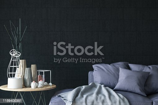 istock Close Up Sofa with Decors and Black Wall 1159400351