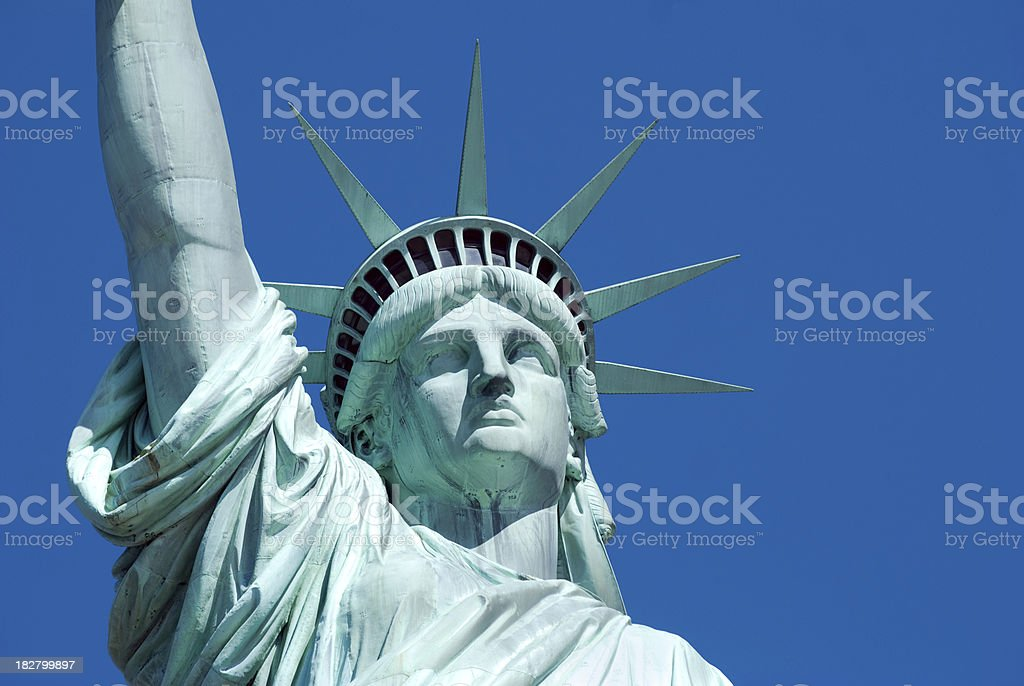 Close up Statue of LIberty face royalty-free stock photo