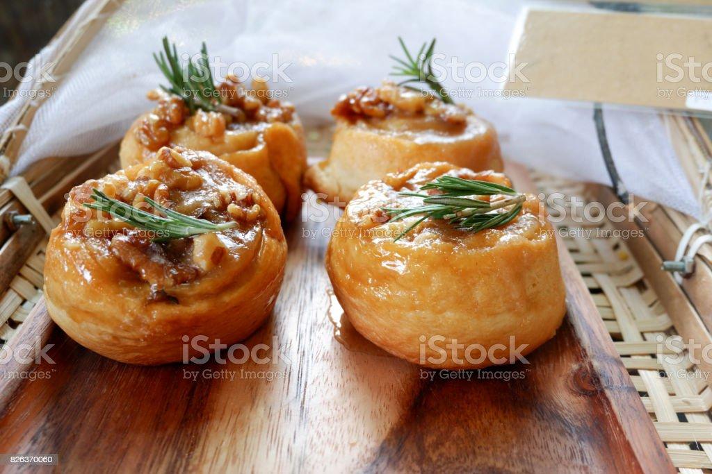 Close up Sticky Buns, homemade bakery stock photo