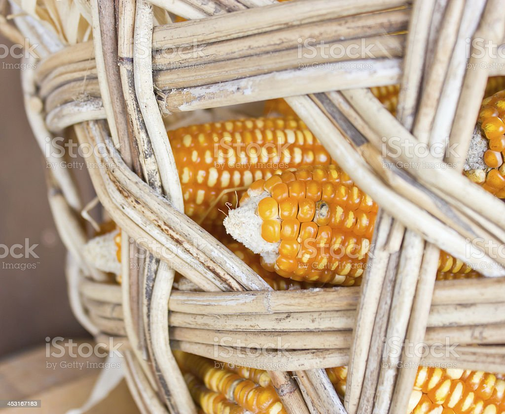 Close up still life corns in bamboo container. stock photo