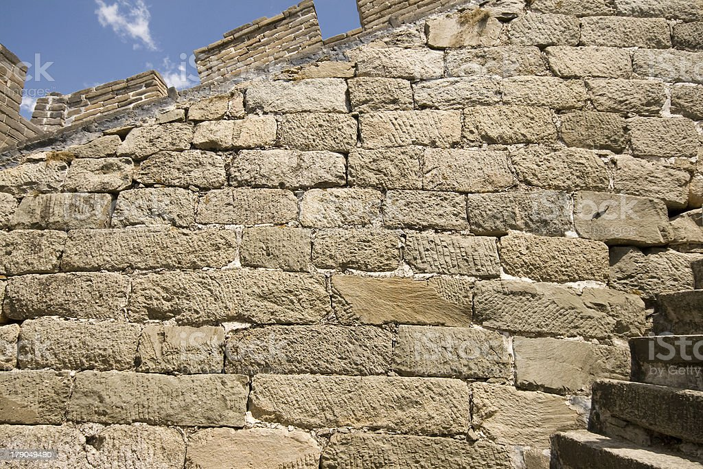 Close Up Stone Blocks Inside Great Wall, Near Beijing, China royalty-free stock photo