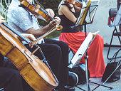 close up street musician playing violin instrument jazz music performer