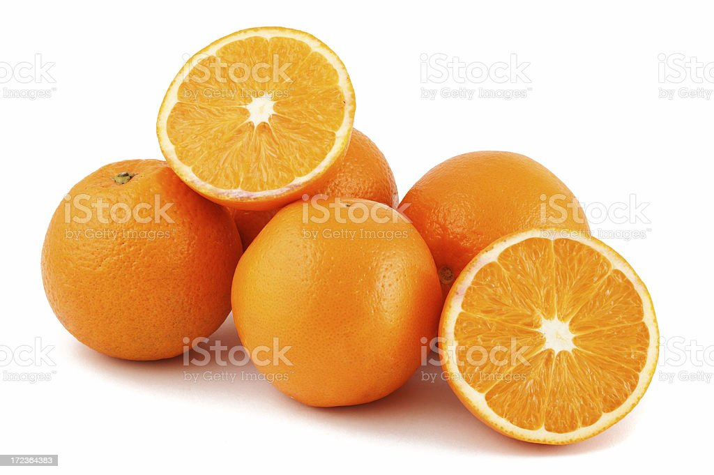 Close up studio shot of 5 oranges on white background stock photo