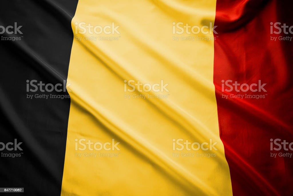 Close-up van studio shot van echte Belgische vlag foto