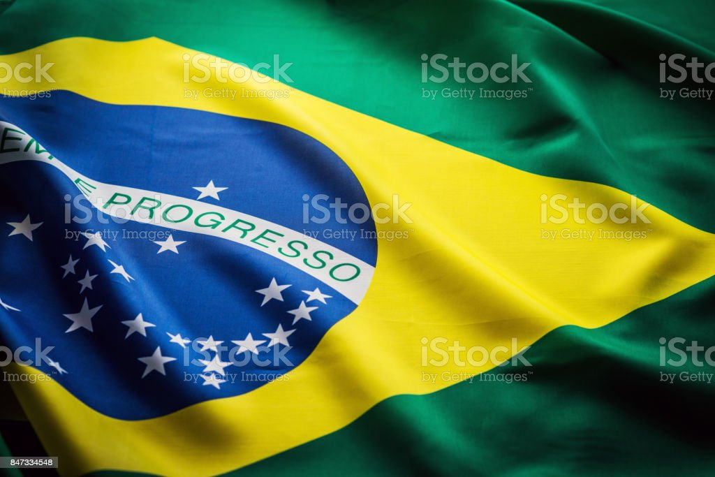 Close up studio shot of real Brazilian flag