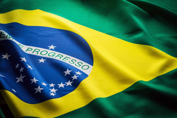 Close up studio shot of real Brazilian flag stock photo