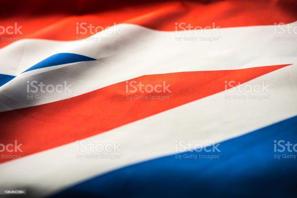 Close up studio shot of real Canadian flag