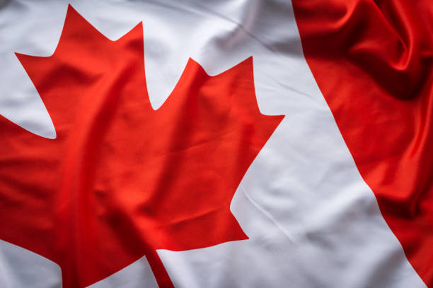 close up studio shot of real canadian flag - canada stock photos and pictures