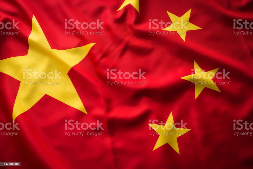 Close up studio shot of real Chinese flag stock photo