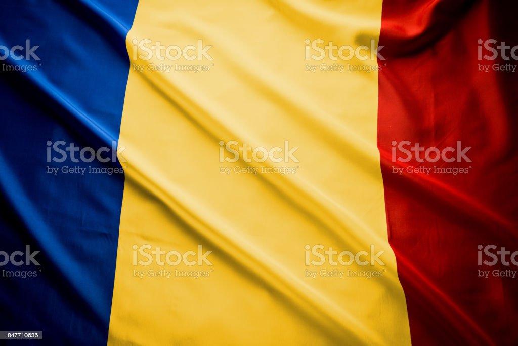 Close up studio shot of real Romanian flag stock photo