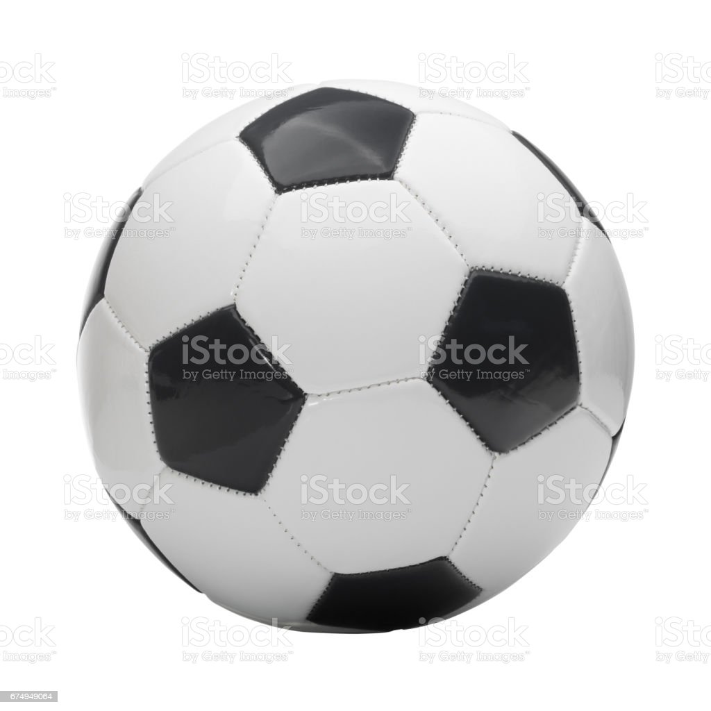 Close up studio shot of soccer ball isolated on white background stock photo