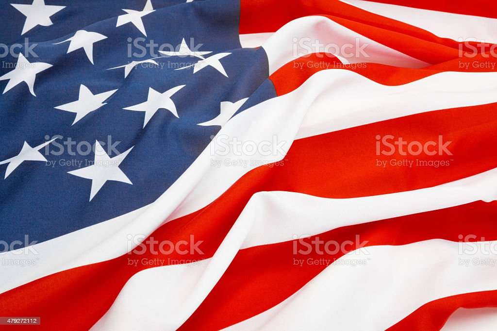 Close up studio shot of USA flag stock photo