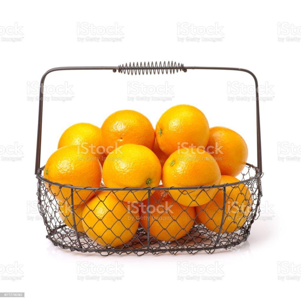 Close up studio shot   oranges on white background stock photo