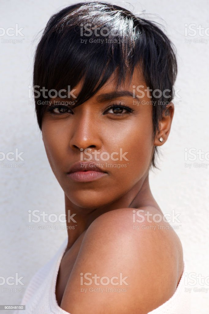 Close up portrait of stylish african female model with modern...