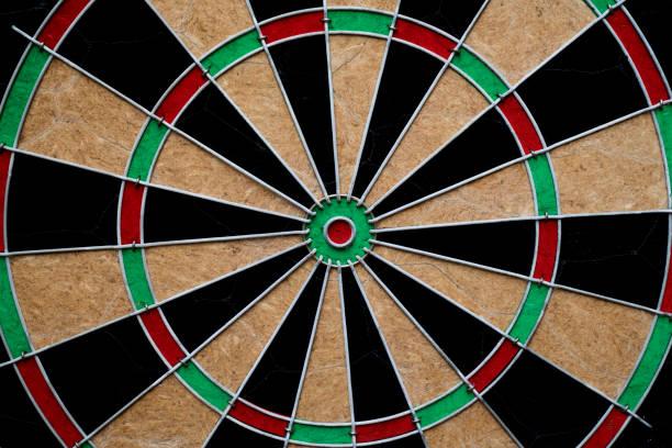 close up target dart board center point stock photo