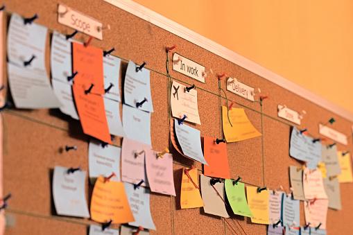 Close up task board, scrum, office bulletin board, agile stickers. Using tasks control of agile development methodology. Kanban board is one of tools of agile work methodology