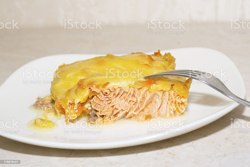 close up tasty salmon and cheese royalty-free stock photo