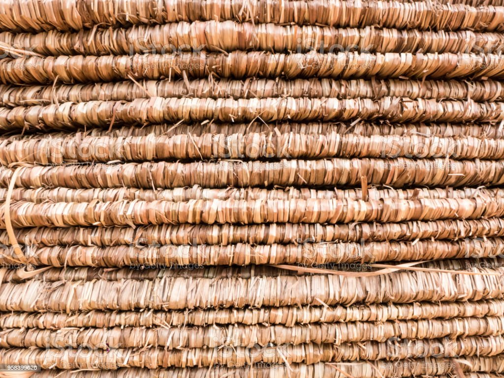 close up texture of brown thatched roof stock photo