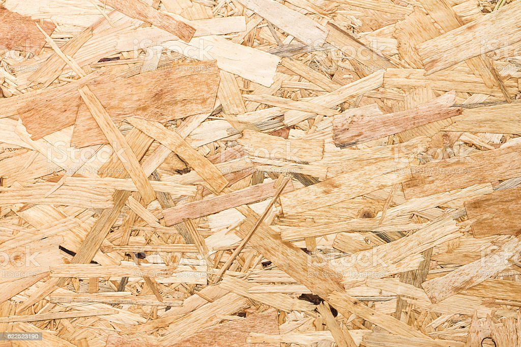 Close up texture of oriented strand board (OSB) stock photo