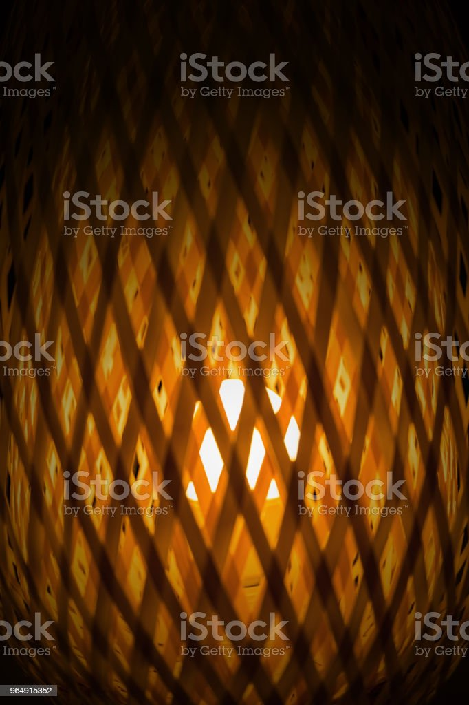 Close up texture of transparent light from woven bamboo lamp background royalty-free stock photo