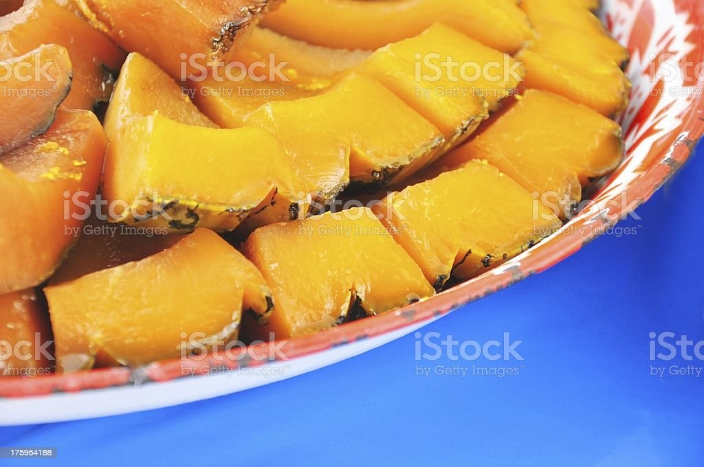 close up Thai style dessert, pumpkin in coconut milk royalty-free stock photo