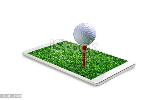 952196272 istock photo close up the golf ball on tee pegs in the smartphone isolated on white background, concept play game online. File contains a clipping path. 1010124148