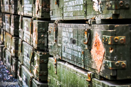 istock Close up the old wooden ammunition box. 1131096451