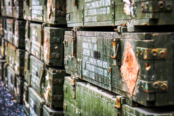 Close up the old wooden ammunition box. Close up the old wooden ammunition box. ammunition stock pictures, royalty-free photos & images