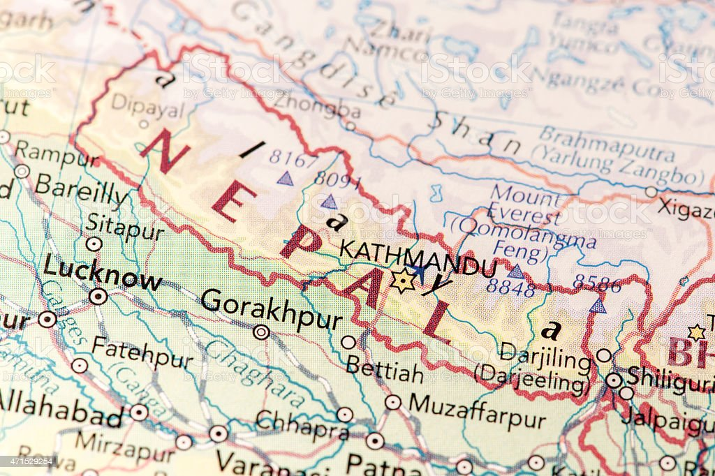 Close Up Thematic Style Map Of Northern India Country Nepal