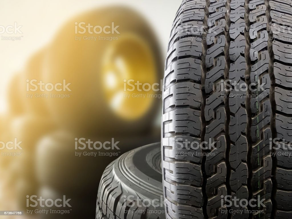 Close up tires stock photo