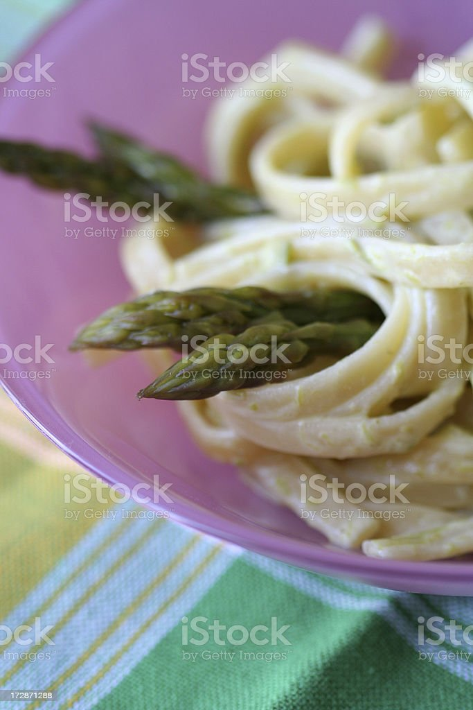 Close up to pasta with asparagus royalty-free stock photo