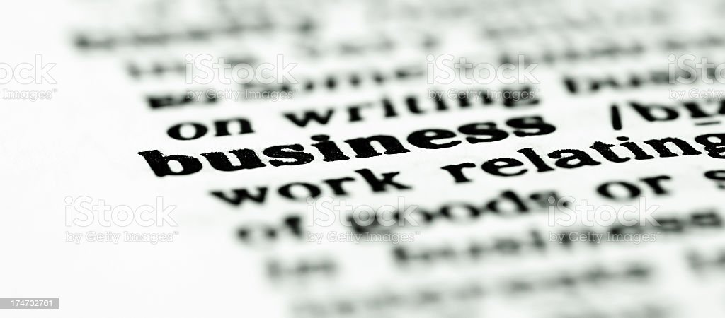 Close up to the word business stock photo