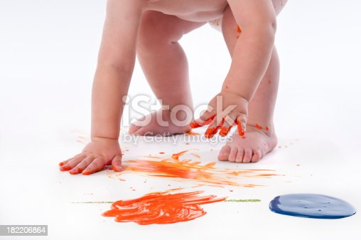 istock Close Up Toddler Fingerpainting 182206864