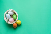 close up top view of group chicken eggs in basket on green color paper in home background for celebrate easter day concept