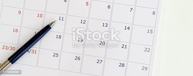istock close up top view soft focus on pen over calendar 2020  at office table at  for make appointment or remind important date,business office supply concept 1170935901