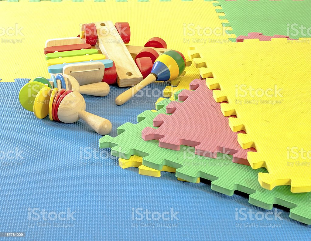 Close Up Toy On Rubber Foam Puzzles Stock Photo & More Pictures of