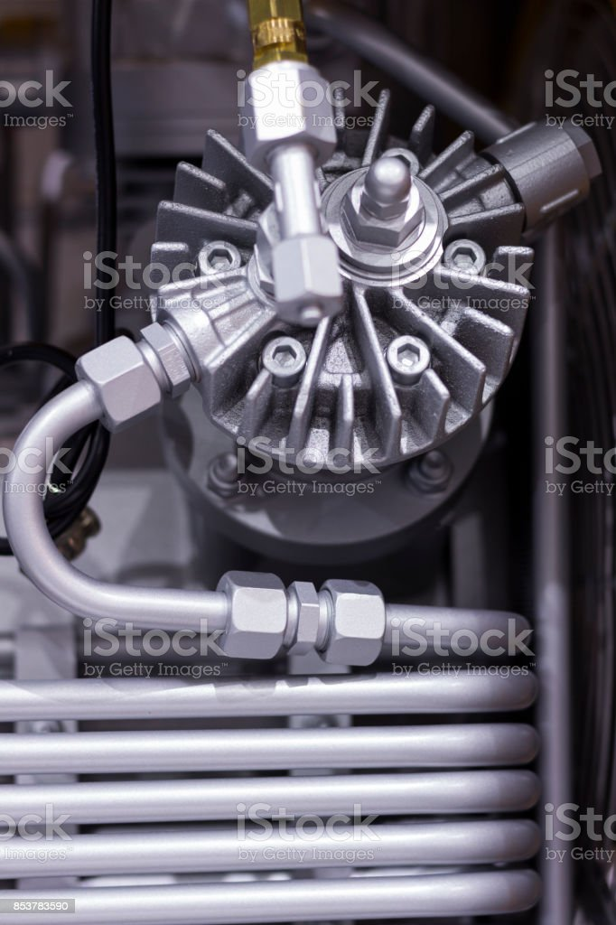 Close up tube or coil of heat exchanger stock photo