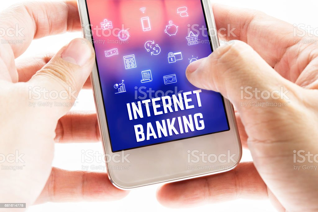 Close up Two hand holding mobile phone with internet banking word and...