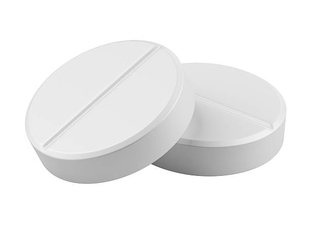 Close up two medical tablets stock photo