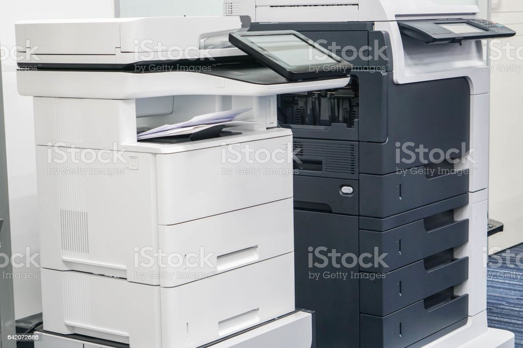 close up two office printers stock photo