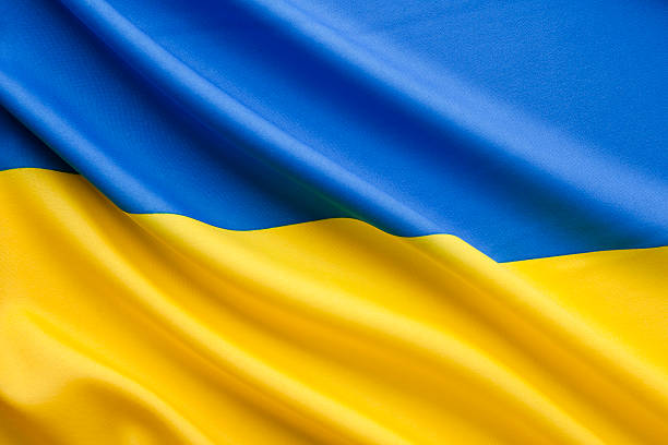 Close up ukranian flag stock photo