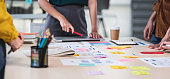 istock Close up ux developer and ui designer brainstorming about mobile app interface wireframe design on table with customer brief and color code at modern office.Creative digital development agency.panning 1224089927