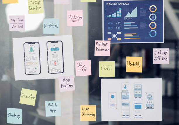 close up ux/ui prototype design and business strategy plan for develop mobile app on clear brainstorming white board in digital design agency company stock photo