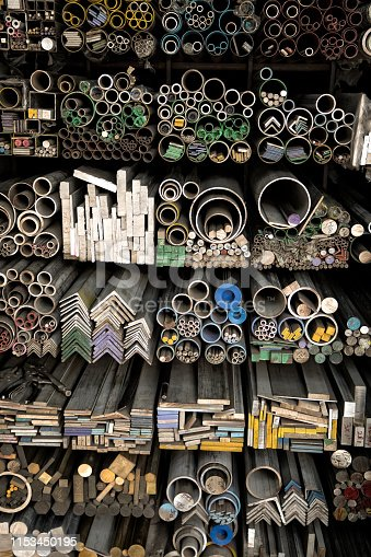 istock Close up various shape industrial steel products of metal profiles and tubes 1153450195