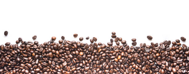 close up view coffee beans - coffee beans stock photos and pictures
