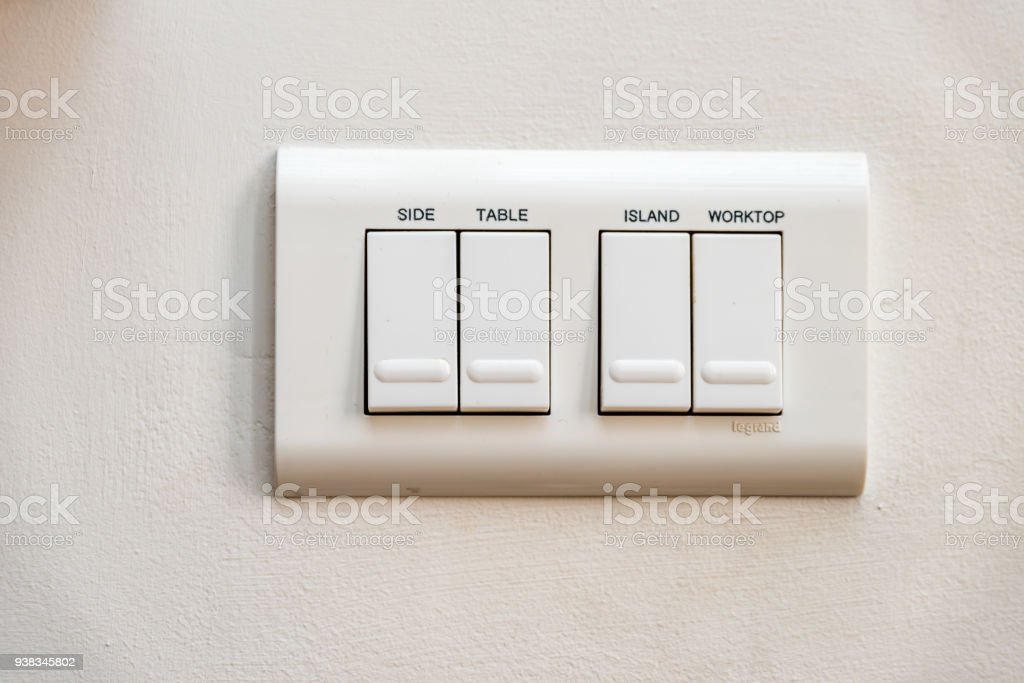Close up view light switches with names on it stock photo