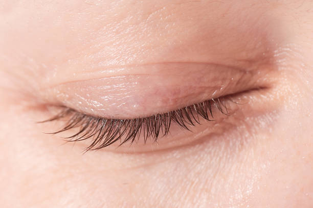 close up view of a closed woman eye - no make up - eyelid stock pictures, royalty-free photos & images