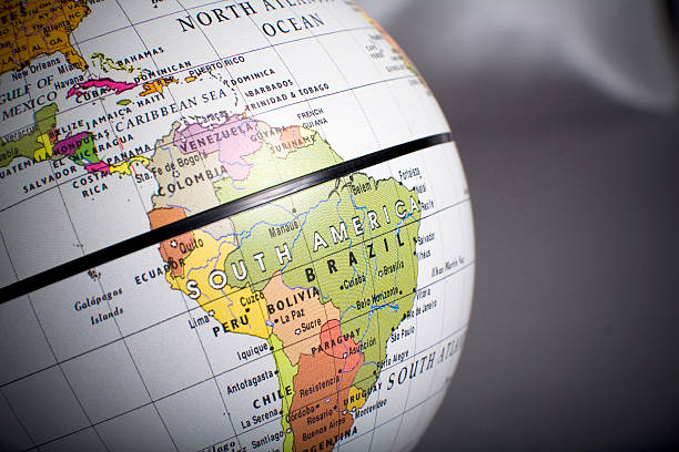 Close up view of a globe on South America stock photo