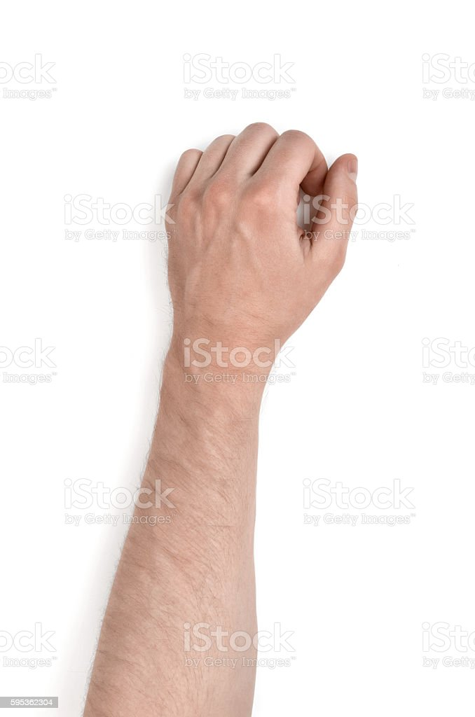 Close up view of a man's hand, isolated on stock photo