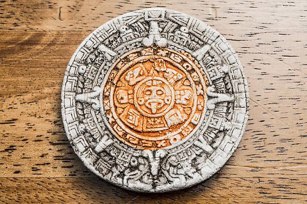 Close up view of a Mayan Calendar stock photo